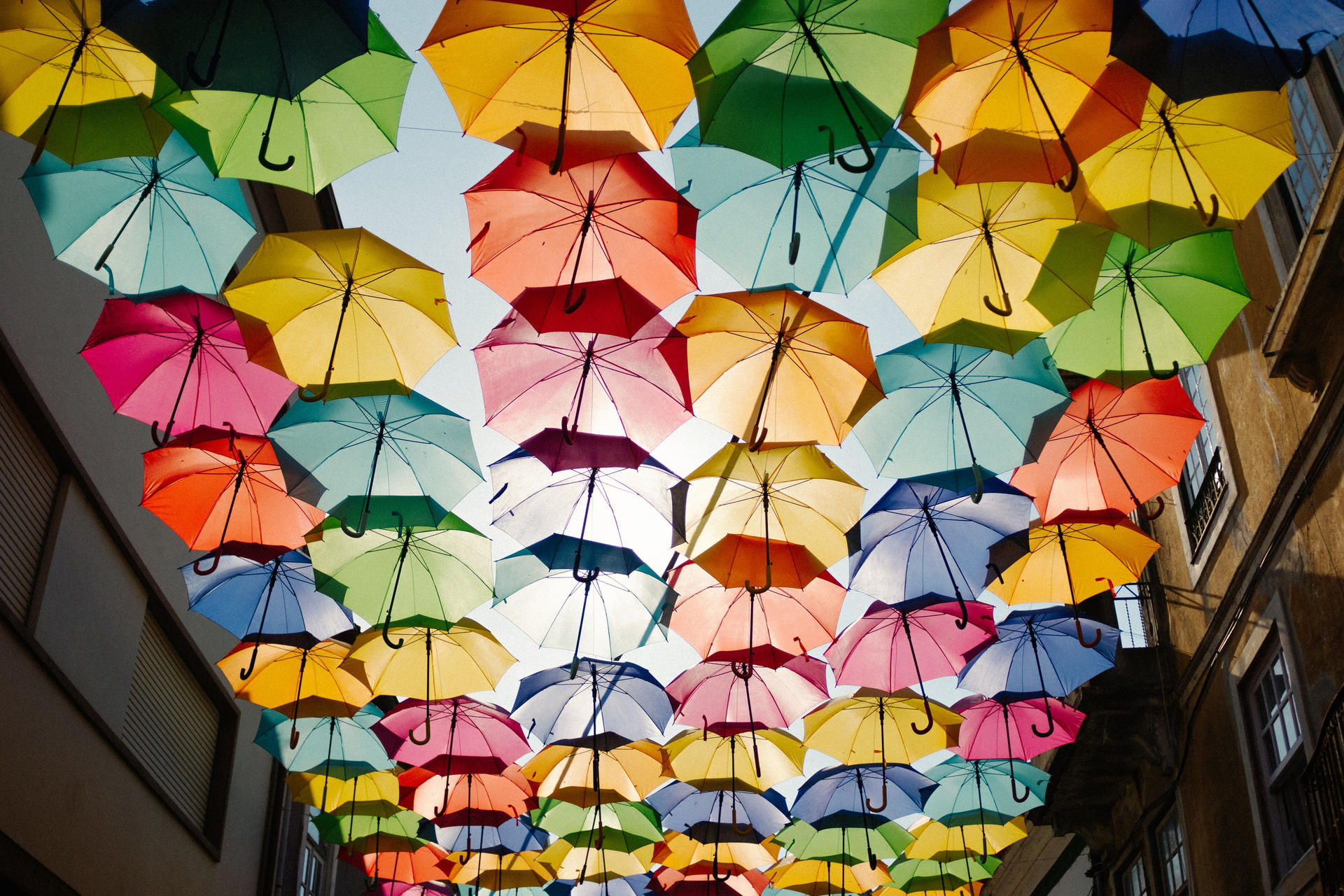 a group of umbrellas